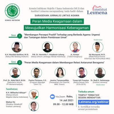 MUI dan Institut Leimena Gelar Sarasehan Virtual Jurnalis Lintas Agama