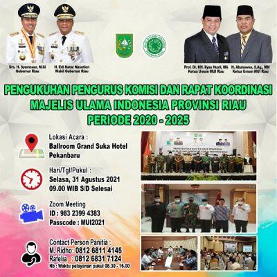 Pengurus Komisi MUI Riau Dikukuhkan Besok, Dihadiri Gubri dan Forkopimda